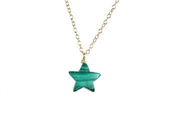 Malachite necklace - star necklace - green star necklace - green stone necklace - star jewelry