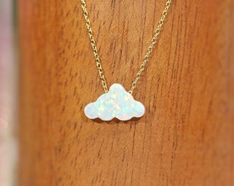 Opal cloud necklace, opal jewelry, cloud necklace, fire opal necklace, cute necklace, little girls necklace