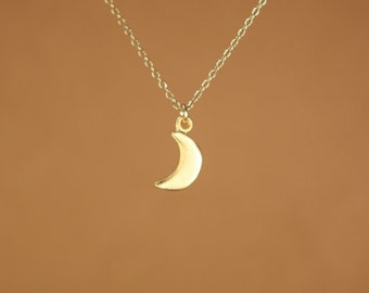Moon necklace - tiny moon necklace - gold moon - crescent moon necklace - a 22k gold overlay little moon on a 14k gold vermeil chain
