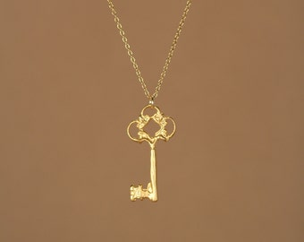 Gold key necklace - little gold key - key necklace - delicate - dainty - a tiny 22k gold overlay key on a 14k gold vermeil chain