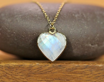 Moonstone necklace, rainbow moonstone heart pendant, gold heart necklace, June birthstone, a faceted crystal heart on 14k gold filled chain