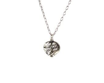 Quartz heart necklace / silver heart jewelry / crystal necklace / black tourmaline quartz / dainty / feminine / bridal jewelry