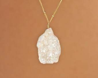 Angel aura crystal necklace - aura quartz - rainbow - raw crystal necklace - an aura crystal wire wrapped onto a 14k gold vermeil chain