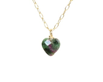 Ruby zoisite heart, 14k gold filled heart necklace, green heart pendant, tiny heart, crystal necklace, gemstone heart jewelry, gift for her
