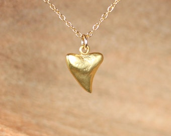 Gold shark tooth necklace - shark tooth - tooth - a tiny 22k gold plated sharks tooth on a 14k gold vermeil chain