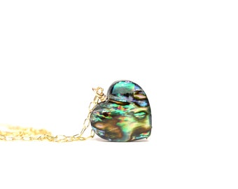 Abalone heart necklace, heart pendant, love jewelry, shell necklace, rainbow, abalone pendant, abalone jewelry