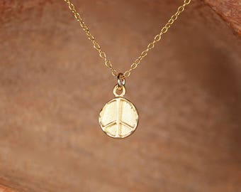 Gold peace sign necklace - circle necklace - stamped disc necklace - simple necklace
