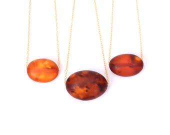 Amber bead necklace / raw amber necklace / baltic amber necklace / a matte oval amber bead on a 14k gold filled chain - MAO4