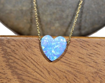 Blue heart necklace, opal heart necklace, love necklace, rainbow heart pendant, love heart necklace, bff gift idea, gold heart necklace