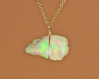 Ethiopian opal necklace - raw opal - genuine opal - natural opal - a raw genuine opal wire wrapped onto a 14k gold vermeil chain - 2B