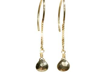 Pyrite earrings, gold dangle earrings, half hoop gemstone earrings, fools gold wire earrings, half hoop long earrings, 14k gold filled