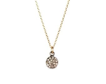 Dainty diamond necklace, pave diamond pendant, round diamond necklace, diamond circle pendant, a dainty oxidized silver disc with diamonds
