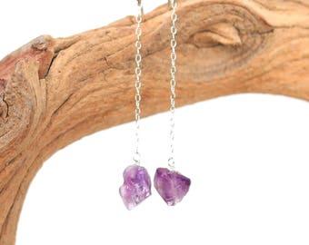 Silver amethyst earrings - amethyst drop earrings - silver chain earrings - dangle earrings - AMR1