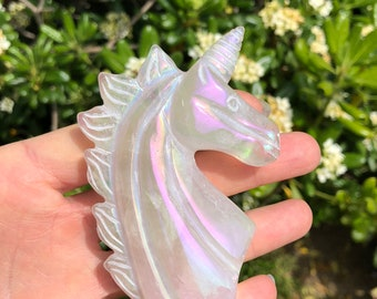 Unicorn - rose quartz unicorn - aura quartz unicorn - angel aura rose quartz unicorn
