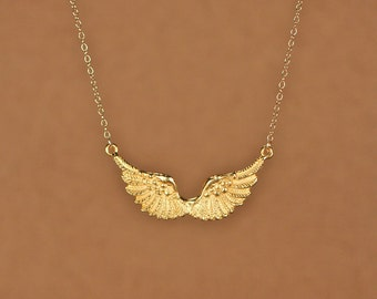 Wing necklace - guardian angel necklace - gold wings - angel wing - kendall -  a set of 22k gold plated wings on a 14k gold filled chain