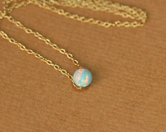 Opal necklace - tiny dot necklace - opal bead necklace - everyday necklace - green opal - a tiny opal bead on a 14k gold vermeil chain