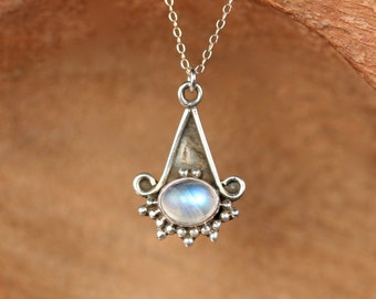 Sterling silver moonstone necklace / rainbow moonstone necklace / rustic necklace / labradorite necklace