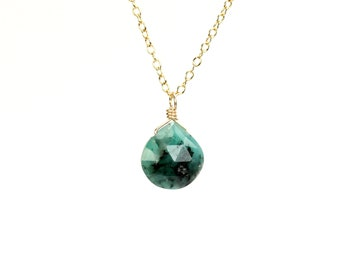 Emerald necklace - green gem necklace - solitaire necklace - floating gem necklace - teardrop necklace - African emerald necklace