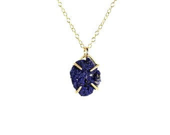 Azurite necklace - raw crystal necklace - druzy necklace - rock necklace - a prong set raw azurite on a 14k gold filled chain