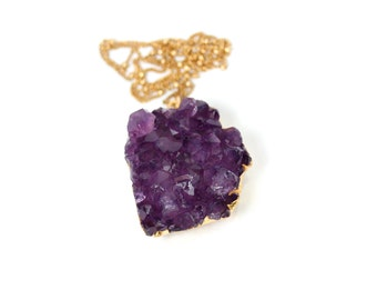 Amethyst druzy necklace - raw crystal necklace - february birthstone - gold lined chunky amethyst cluster