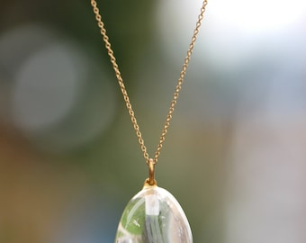 Crystal necklace - quartz crystal necklace - Healing necklace - a perfectly polished rose quartz on a 14k gold vermeil chain