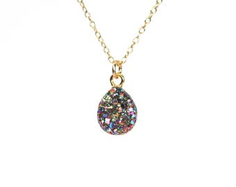 Rainbow druzy necklace - raw crystal necklace - titanium teardrop