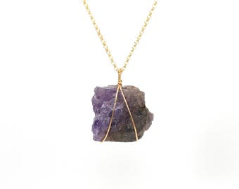 Tanzanite neckalce - raw crystal neckalce - natural tanzanite necklace - a wire wrapped raw tanzanite on a 14k gold filled chain