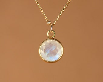 Moonstone necklace - gold moonstone - june birthstone - a 22k gold bezel set rainbow moonstone on a 14k gold filled satellite chain