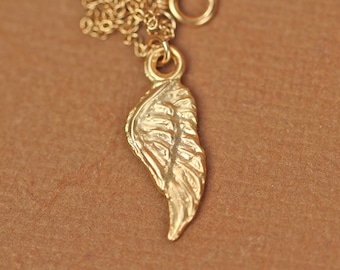 Gold wing necklace - guardian angel necklace - wing necklace - angel wing - kendall -  a 22k gold plated wing on a 14k gold vermeil chain