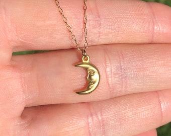 Smiling moon necklace, happy moon pendant, celestial necklace, happy necklace, a gold moon charm on a gold vermeil chain