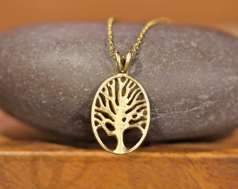 Tree of life necklace, family tree pendant jewelry, gold tree of life gift for mom, nature jewelry, tree branches, gold oval pendant