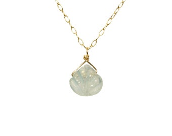 Aquamarine necklace, light blue crystal necklace, march birthstone jewelry, crystal necklace, chakra necklace, something blue, 14k gold fill
