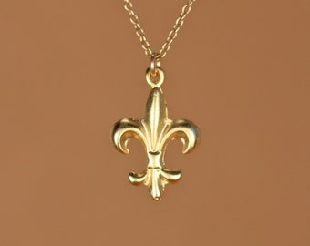 Fleur de lis necklace - layering necklace - french necklace - a 22k gold vermeil fleur de lis hanging from a 14k gold vermeil chain