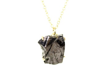 Shungite necklace - mineral necklace - healing necklace - amulet necklace - a prong set shingle on a 14k gold vermeil chain