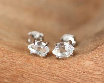Herkimer diamond earrings - silver prong set earrings - raw quartz earrings - quartz stud earrings - double terminated quartz earrings