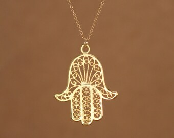Hamsa necklace - gold hamsa charm - khamsa necklace - amulet - a filigree style gold vermeil hamsa on a 14k gold vermeil chain
