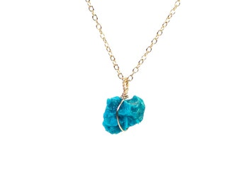 Chrysocolla necklace - mineral necklace - blue stone necklace - healing - a vibrant blue chrysocolla on a 14k gold vermeil chain