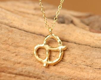 Pretzel necklace, bff necklace, kawaii necklace, the perfect gift, silver pretzel necklace, gold filled necklace, cute friend necklace