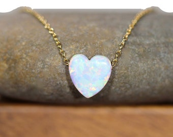 Opal heart necklace, love necklace, valentines necklace, rainbow heart pendant, love heart necklace, bff gift idea, gold heart necklace