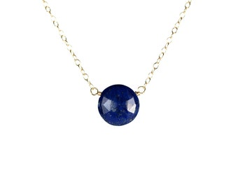 Lapis necklace - december birthstone -  blue gemstone - lapis lazuli necklace- a wire wrapped genuine lapis disc on a 14k gold vermeil chain