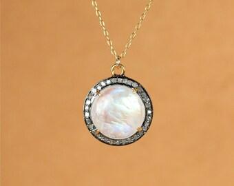 Rainbow moonstone and diamond necklace - moonstone pendant necklace - pave diamond necklace - april birthstone necklace - gemstone necklace