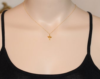 Gold shark tooth necklace - shark tooth necklace -  tooth - a tiny 22k gold plated sharks tooth on a 14k gold vermeil chain