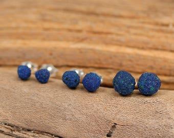 Azurite earrings - blueberry earrings - silver ball earrings - blue stone earrings - AZE1