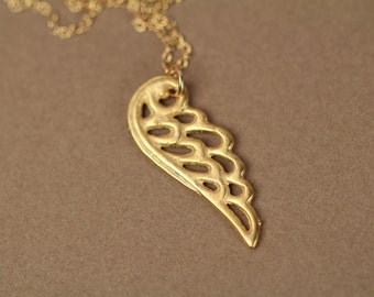 Gold wing necklace - wing necklace - angel wing necklace - a 22k gold plated wing on a 14k gold  vermeil chain