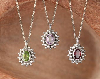 Garnet necklace - peridot necklace - amethyst necklace - crystal necklace - silver necklace - iolite necklace