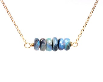 Black opal necklace - precious opal necklace - lightning ridge opal - australian opal necklace - rare opal - bar necklace