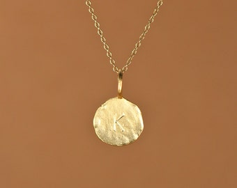 Gold letter necklace - Initial necklace - letter stamp - round letter - name - a 22k gold overlay letter charm on a 14k gold vermeil chain