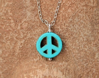 Peace sign necklace , peace symbol , keep the peace , turquoise necklace , cute necklace , silver peace necklace , gift under 25