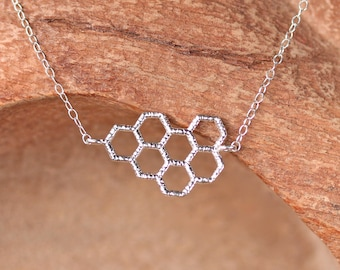 Honeycomb necklace - save the bees - silver charm necklace - bee necklace - save the planet
