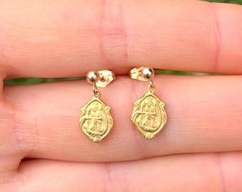 Virgin mary earrings, religious earrings, gold stud saint mary, mother mary, mother of god earrings, gift for her